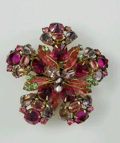 Schreiner New York Signed Pink, Lilac, Green Filigree Brooch