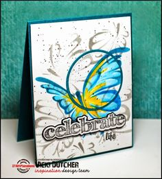 Card by Vicki using ARTplorations Flutterby stencil and Sentiment Builders: Celebrate