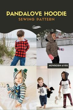 Pandalove Hoodie sewing pattern (newborn-6yrs). This Hoodie / Cardigan is very easy, fast to sew, and looks great! Plus there is a NEW version with an added front opening. The original hood is made of a single piece and looks really cute. There are optional pom poms on the top of the hoodie to finish the Pandalove look. When you make the Pandalove Hoodie you have various options giving you four looks. You can make it with long or short sleeves and with/without a front opening. Boys Sewing Patterns, Sewing For Kids, Kids Tops, Party Tops, Modern Kids, Single Piece, Pom Poms, Casual Tops, 6 Years