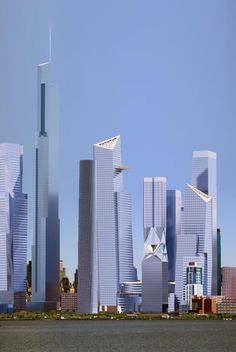 Hudson Yards with the proposed Hudson Sphire which would tower over One Freedom Tower