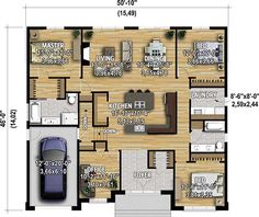Plan image used when printing AccueilNos plansPlans de Plan N° 11886 le walkin cuisine Small House Plans, House Floor Plans, Island With Seating, 3 Bedroom House, Walk In Pantry, Minimalist Living, Interior Design Living Room, Great Rooms, Home And Living