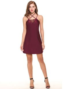Sliver Casual Sleeveless Lattice Front Lace-up V Neck Pullover Mini Swing Dress