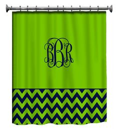 Custom Shower Curtain Solid with Chevron Lower Border by redbeauty, $78.00