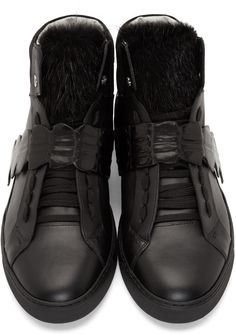 Fendi Black Fur-Trim Leather & Croc High-Top Sneakers