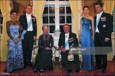 Royal Family Of Denmark From Left To Right : Princess Alexandra With Her Husband Prince Joachim, Queen Margrethe, Consort Prince Henrik, Mary Elizabeth Donaldson And Crown Prince Frederik in Fredensborg, Denmark on October 08, 2003