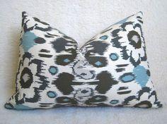 Floral Ikat Decorative Pillow - Light Blue - Gray - Cream - 12x18 inch - BOTH SIDES - Designer Pillows - Ikat Pillow - Lumbar Pillow. $26.00, via Etsy.