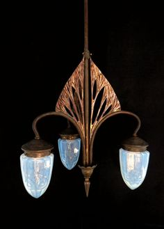 Catawiki online auction house: Art nouveau chandelier with 3 optic blown shades