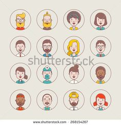 male and female vector avatars,flat style profile illustrations  - stock vector