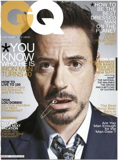"""Faux GQ Tony Stark interview (cover, """"May by MediAvengers Robert Downey Jr, Gq Magazine Covers, Magazine Spreads, Gq Mens Style, Gq Style, Cover Boy, Stark Industries, Best Dressed Man, Avengers"""