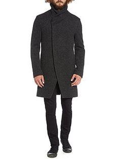 Wrap over collar coat