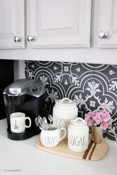 Hi Sugarplum Kitchen Makeover Reveal Create a cheerful start to your morning with an organized coffee station. I found these darling containers at HomeGoods Budget Kitchen Remodel, Kitchen On A Budget, New Kitchen, Kitchen Ideas, Kitchen Pantry, Kitchen Reno, Coffee Nook, Coffee Area, Coffe Bar
