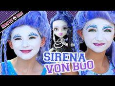 Monster High Sirena Von Boo Makeup Tutorial! Collab CuteGirlsHairstyles & KITTIESMAMA - YouTube