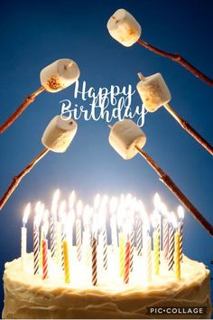 Happy Birthday roasting marshmallows over candles - fire - on cake - o. Birthday Greetings For Facebook, Birthday Wishes Funny, Happy Birthday Meme, Happy Birthday Pictures, Happy Birthday Messages, Birthday Cake, Birthday Memes For Men, Nephew Birthday Quotes, Happy Birthday Dear Friend