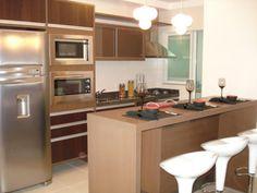 cozinha planejada americana para apartamento marrom claro