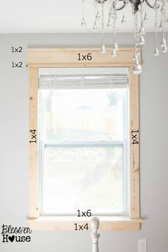 DIY Window Trim - The Easy Way Bless'er House - I want to trim all the windows in our entire house like this! For a more vintage look, go a little wider on the side casing and apron and make the header slightly narrower. Diy Casa, Moldings And Trim, Window Molding Trim, Door Frame Molding, Wood Molding Trim, Diy Crown Molding, Door Frames, Faux Crown Moldings, Home Repairs