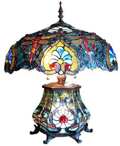 Tiffany Lamp With Asian Dragon Fly Glass Table Lamp, Dragonfly Stained Glass, Lamp, Chandelier Lamp, Stained Glass Table Lamps, Stained Glass Light, Tiffany Style Lamp, Lamp Light, Tiffany Lamps