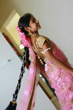 My daughter in Onion pink half saree