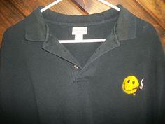 CIGARS SMOKING SHIRT XL HAPPY FACE BLACK 100% cotton Smoke polo collar smile #anvil #PoloRugby