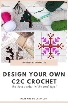 Have you ever wondered how to design your own corner to corner crochet graph pattern? Learn where to look for inspiration, how to figure out the size of your project and what tools to use for drawing your charts this in-depth tutorial. #makeanddocrew #freecrochettutorial #cornertocornercrochet #c2ccrochet