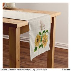 Golden Glematis with Butterfly Table Runner 14x72