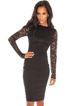 Long sleeve lace and benaline dress #citygoddess