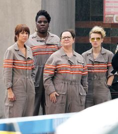 "Rejoice! The first photos of the fully assembled Ghostbusters are here: Kristen Wiig, Leslie Jones, Melissa McCarthy, and Kate McKinnon together filming in Boston. | First Set Photos Of The New ""Ghostbusters"" Cast"