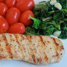 simple lunch or dinner - Basil Lemon Zesty Grilled Chicken, Sautéed Spinach w/ garlic & evoo w/ grape tomatoes - @xo_dominichulinda- #webstagram