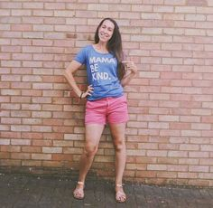 Happy Friday everyone!!  This is the lovely Kate from @whatkatysaiduk wearing our Blue and White Mama Be Kind Tee and pairing it perfectly for this summer weather with pink shorts and sandals! Kate you look fab as always and thanks for sharing! Our Mama Be Kind Blue & White has been one of our bestsellers and we only have a few of these ones left in stock now!! so if you are wanting one why wait? head over to the shop now! (link in bio) and REMEMBER that 10% of every SALE will go to help PND cha You Look Fab, Cool Slogans, Slogan Tshirt, Brand Store, Pink Shorts, Pink Fashion, Happy Friday, Pretty In Pink, Best Sellers