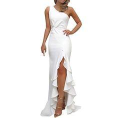 Toimothcn Womens One Off Shoulder Ruched Ruffle Formal Evening Dress Slim  Slit Maxi Bridesmaid Dresses( ca53ae2d7