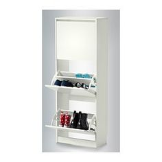 BISSA Shoe cabinet with 3 compartments - white - IKEA Would be great for living room/foyer entry!