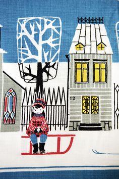 Part of a christmas themed table cloth, Kajsa Norström, 1950s/1960s.