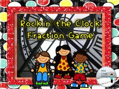 "This game is FUN & CCSS aligned! Students use analogue clock faces to ""rock the clock"" and travel through 480 minutes of fractions. The first one to finish, wins!"