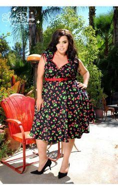 Heidi Dress in Black Cherry - Plus Size