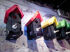 Video Cassette Cases, Tapes, + a Clothespin  = a Bird House!!!