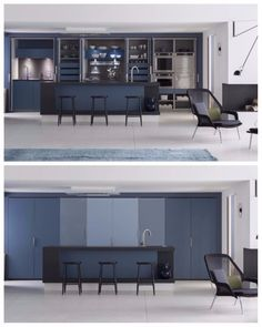 cuisine encastree invisible perene bleue placard minimaliste