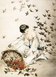 Louis Icart - Illustrations - Femme aux Moineaux