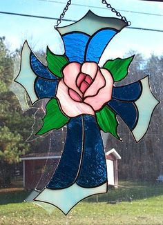 Stained Glass Cross with Rose Center Suncatcher - Handecrafted in the USA