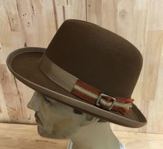 460075c143e Items similar to pecan colored 100% beaver fur felt homburg hat with vintage  distressed buckle and trim on Etsy