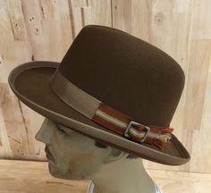 pecan colored 100% beaver fur felt homburg hat with vintage distressed buckle and trim by hatWRKS on Etsy https://www.etsy.com/listing/236880299/pecan-colored-100-beaver-fur-felt
