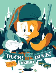 Tom Whalen Looney Tunes Posters with Bugs Bunny Elmer Fudd and Daffy Duck On Sale Today at Mondo Tom Whalen, Cartoon Posters, Disney Posters, Cool Posters, Cartoon Characters, Movie Posters, Looney Tunes Cartoons, Retro Cartoons, Classic Cartoons