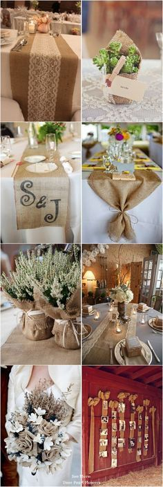 55 Chic-Rustic Bubofrlap and Lace Wedding Ideas / http://www.deerpearlflowers.com/50-chic-rustic-burlap-and-lace-wedding-ideas/