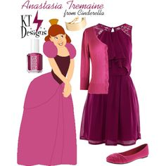 A fashion look from July 2014 featuring lace evening dresses, v neck 3 4 sleeve top and flat footwear. Browse and shop related looks. Disney Bound Outfits Casual, Disney Princess Outfits, Disney Dresses, Disney Outfits, Cool Outfits, Disney Inspired Fashion, Disney Fashion, Anastasia And Drizella, Cinderella Outfit