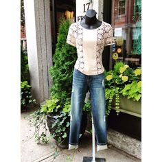 Bailey44 crochet top and jeans #jmodefashions