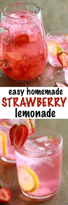 Easy Homemade Strawberry Lemonade - Spend With Pennies Easy Strawberry Lemonade is loaded with ripe strawberries and fresh tart lemon for a perfectly refreshing summer drink! Turn it into the perfect summer cocktail by adding a splash of vodka! Alcoholic Drinks Vodka, Party Drinks Alcohol, Fruit Drinks, Smoothie Drinks, Yummy Drinks, Healthy Drinks, Beverages, Hard Drinks, Healthy Sugar