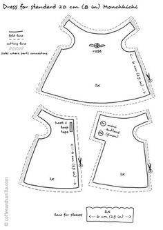Free Printable Doll Clothes Patterns | ... post from Coffee & Vanilla, sign-up for FREE newsletter today | Bonecas de pano