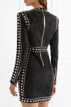 Balmain - Studded Suede Mini Dress - Black