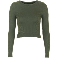 TopShop Wool Mix Cropped Jumper ($24) ❤ liked on Polyvore featuring tops, sweaters, crop tops, shirts, khaki, green top, topshop sweater, crop top, khaki green shirt and ribbed sweater