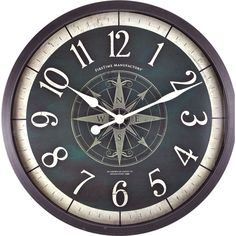 "FirsTime 24.5"" Compass Rose Wall Clock"
