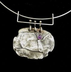 Fused Silver Amethyst Necklace by karmahjean on Etsy