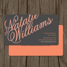 Elegant Name Modern Hair Stylist Business Card  / Mommy Card / Calling Card - Set of 100. $48.00, via Etsy.